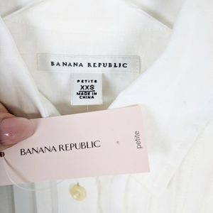 Banana Republic Tops - NEW Banana Republic White Tuxedo Linen Blouse XXSP